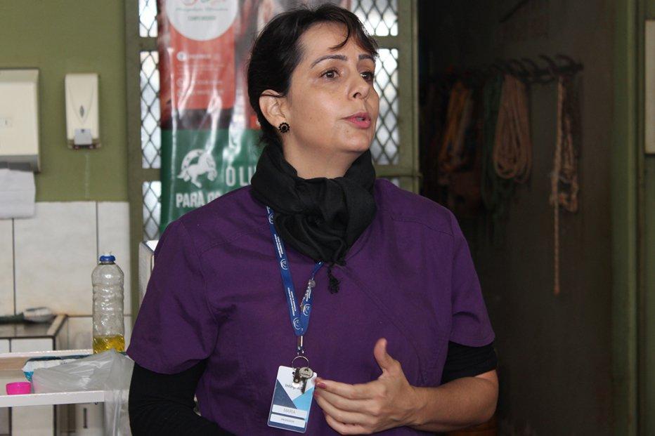 Professora Maria Manoela demonstrou como é realizado um exame ultrassonográfico
